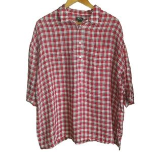 3/30$ ROOTS Red & White Linen Oversized Half-button Short Sleeves Top Large